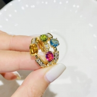 Wholesale Women's 0.2ct 18k Gold Natural Colored Gemstone Ring from china suppliers