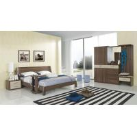 Wholesale Walnut wood home bedroom furniture sets by curved headboard bed and full mirror stand from china suppliers