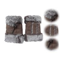 Wholesale Stock Ladies Lambskin Gloves with Curly Fur Trim Cuff Shealring Sheepskin Fingerless Gloves from china suppliers