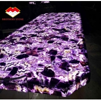Buy cheap Luxury semi precious stone marble furniture amethyst slab for table top from wholesalers
