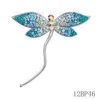 Wholesale Trendy Beautiful Silver Jewelry , Engagement Rhinestone Blue Wing Dragonfly Brooch from china suppliers