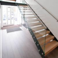 Wholesale Customized Straight Open Riser Double Stringers l Shape Wood Tread Straight Staircase from china suppliers
