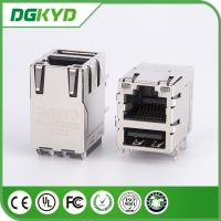 China Shielded Mini USB RJ45 Connector Integrated magnetics ,  8 pin modular jack on sale