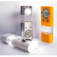 Quality Silk Print Mini LED Flashlights with Clock, Alarm, Night Light and Rotatable Lamp Holder for sale