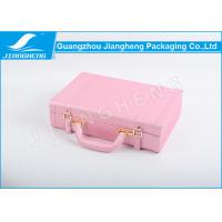 China Pink Faux Leather Gift Box / Personalised Leather Box With Portable Suit Case on sale