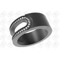 China Half Cut Out Design Black 316L Stainless Steel Band Rings With Clear Swarovski on sale
