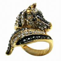 Wholesale Horse Ring with Shiny Stones and Zinc Alloy from china suppliers