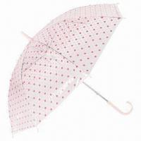 Buy cheap 55cm x 8k Manual Open Transparent Umbrella with Dots Print, Metal Shaft and Matching PP Handle/Top from wholesalers
