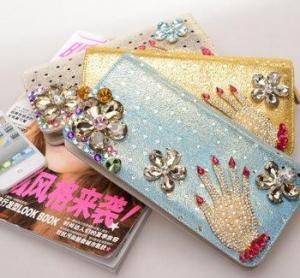 Quality new female long zipper wallet,damond wallet for sale