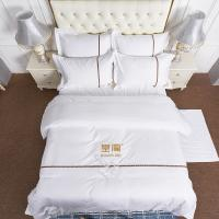 China Custom Embroidery Logo Hotel Cover Sheet Set Four Pcs 100% Cotton King Size Bed Sheet on sale