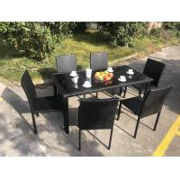 Wholesale Stackable Chair Outdoor Rattan Dining Set KD Tabke With Black Glass from china suppliers