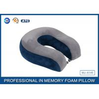 Wholesale Comfort Automotive / Plane Poly Jersey Inner Memory Foam Travel Neck Pillow With Button from china suppliers