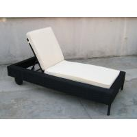Wholesale Patio Black Adjustable Rattan Sun Lounger With White Cushion from china suppliers