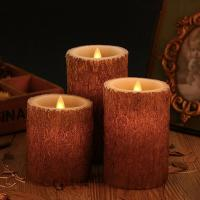 Wholesale Set of 3 Bark Simulation Pillar LED Candles with 10-Key Remote and Cycling 24 Hours Timer from china suppliers