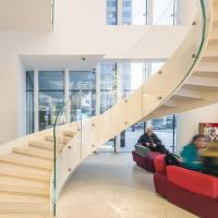 Wholesale European-Style Stainless Steel Glass Curved Staircase Arc Stairs from china suppliers