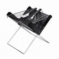 Wholesale Foldable Notebook Shaped Charcoal BBQ Grill, 32x32cm Size, Made of Black Power-coated Fire Bowl from china suppliers