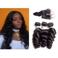 Wholesale Virgin Peruvian Hair Bundles With Closure , Natural 12 Inch Loose Wave Weave from china suppliers