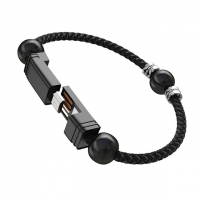 Buy cheap USB 2.0 Charging Cable With Beads Portable Leather Bracelet 22.5cm 480Mbps from wholesalers