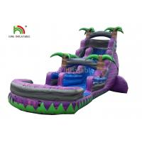 Wholesale Dual Lane 0.6mm PVC Inflatable Water Slide With Pool 30ft Purple For Summer from china suppliers