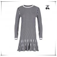 Wholesale Long Sleeve Womens Dress Sweaters Round Neck With Black And White Striped from china suppliers
