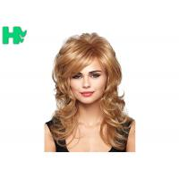 China Synthetic Long Ladies Synthetic Wigs Heat Resistant Fiber Dark Blonde Wigs on sale