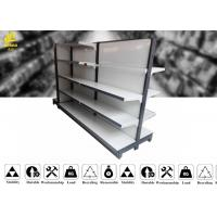 Wholesale White Color Supermarket Steel Racks With Middle Back Panel 60 Kg / Layer from china suppliers