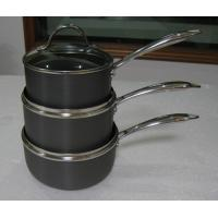China 20cm Stamped Hard Anodized Non Stick Milk Pan With Glass Lid on sale