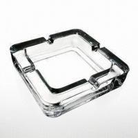 China Square Glass Ashtray, Used for Cigarettes, Made of Machine-Made Glass, Available in Different Colors on sale