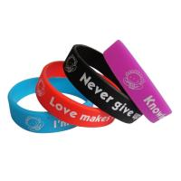Cutom Cheap Embossed and Imprinted Silicone Wristband, Embossed Rubber Bracelet for sale
