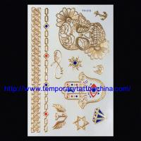 China temporary tattoo arm sleeves Silver Gold Metallic temporary tattoo arm sleeves on sale