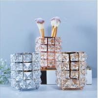 Wholesale gold/sliver/rose gold metal with crystal beaded pen cosmetic brush holder from china suppliers