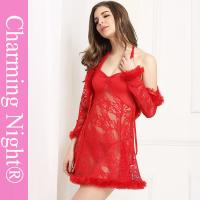 Wholesale Three Pieces Mature Woman Female Fur Red Sexy Fetish ladies honeymoon nightwear from china suppliers