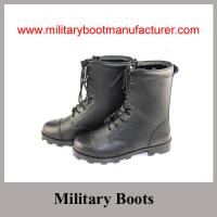 China Wholesale China Made Black Genuine Leather Military Combat Boot with Panama Outsole on sale
