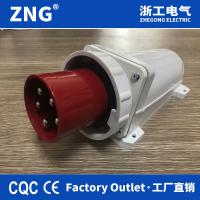 China 5 pin 400v 63a panel mounting appliance inlet, industrial wall plug 63a 3P+N+PE, IP67 stationary industrial reverse plug for sale