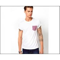 China mens blank white tee shirt with printed Pocket  oem logo service on sale