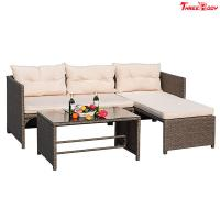 Wholesale 3 Pieces Rattan Sectional Outdoor Lounge Sofa Sets Clearance UV Resistant from china suppliers