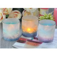 Wholesale Custom Candle Luxury candle holders glass , Feather Painted glass candle jars from china suppliers