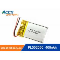 Wholesale 502050 pl502050 3.7v 400mah lithium polymer battery rechargeable flat polymer battery from china suppliers