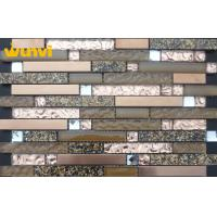 Wholesale Abrasion - Resistant Strip Wavy Glass Mosaic Tile With Stainless Steel from china suppliers