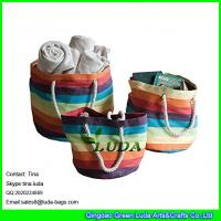China LUDA colorful storage laundry basket colorful paper straw tote bag lady bags on sale