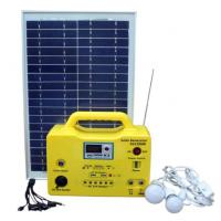 20W portable solar power system with LED lighting, USB charging , integrated radio/MP3 functions yellow color