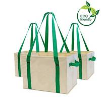 Heavy Duty Collapsible Recycle Shopping Bags With Fold Up Reinforced Bottom for sale