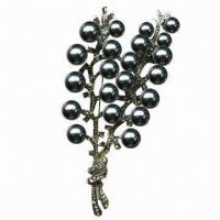 Wholesale Pearl brooch, made of zinc-alloy from china suppliers