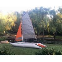 Wholesale Two Sails Custom Pontoon Boats For Enjoy , 450 Cm Portable Catamaran Sailboat from china suppliers