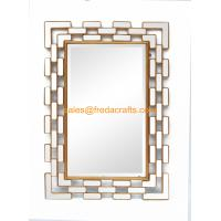 Zhejiang Supplier Elegant Design Metal Decorated Bevelled Rectangle Wall Mirror