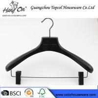 Wholesale ashtree wooden clothes hanger with gun black clips from china suppliers