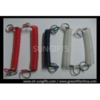 Wholesale Plastic spring coil with metal hook and key ring, plastic retainer with key ring from china suppliers