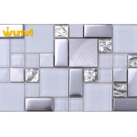 Wholesale Glitter Grey Metallic Glass Kitchen Mosaic Tiles , Glass Kitchen Tiles For Backsplash from china suppliers