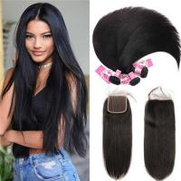 Wholesale 8A Quality Virgin Remy Human Hair Bundles With Closure Natural Color from china suppliers