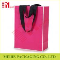 Wholesale Recycled Medium Pink color printing Paper Carrier Bags with customized LOGO and black handle from china suppliers